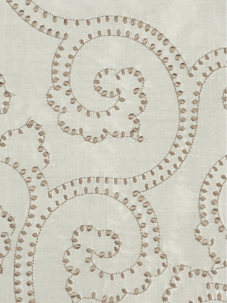Halo Embroidered Scroll Damask Dupioni Silk Fabric Sample (Color: Eggshell)