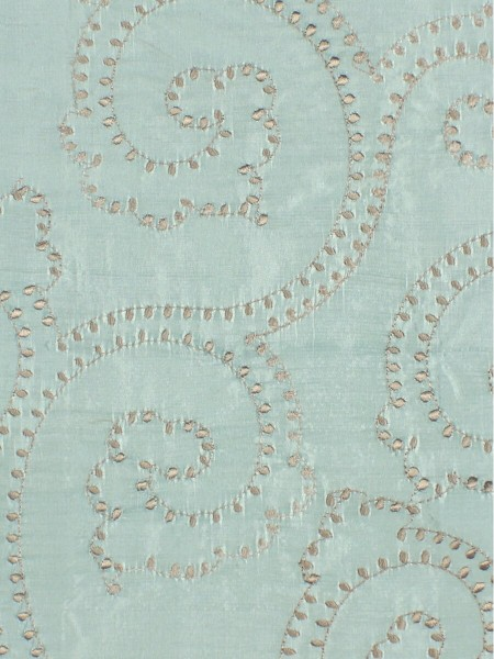 Halo Embroidered Scroll Damask Dupioni Silk Fabric Sample (Color: Magic mint)
