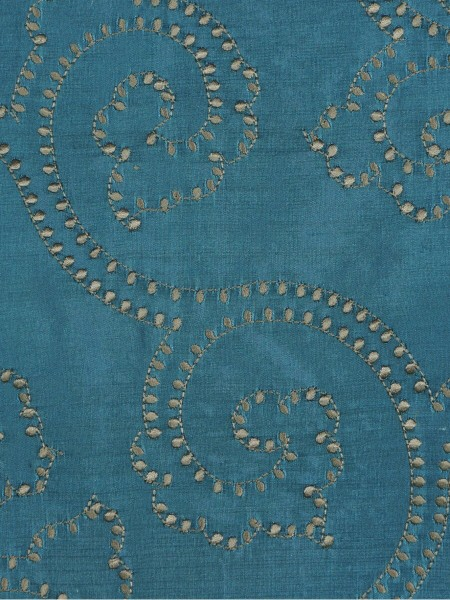 Halo Embroidered Scroll Damask Dupioni Silk Custom Made Curtains (Color: Celestial blue)