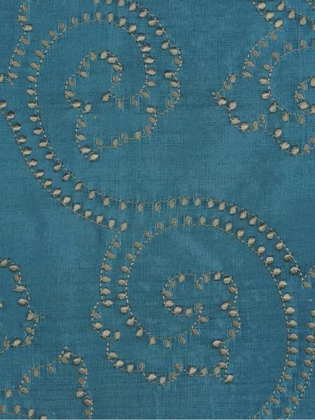 Halo Embroidered Scroll Damask Dupioni Silk Fabric Sample (Color: Celestial blue)