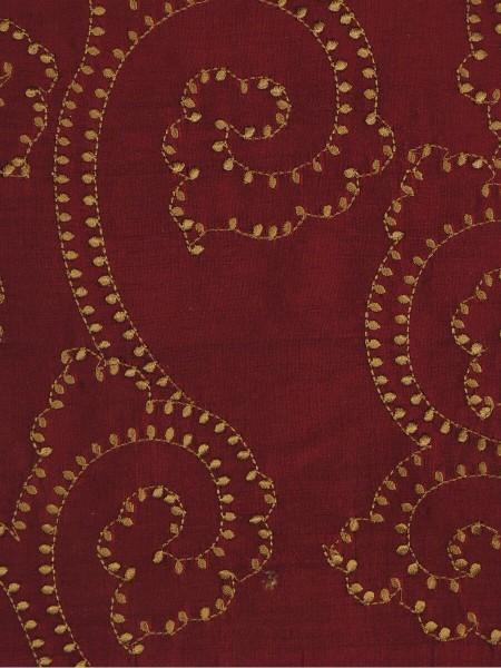 Halo Embroidered Scroll Damask Dupioni Silk Fabric Sample (Color: Burgundy)