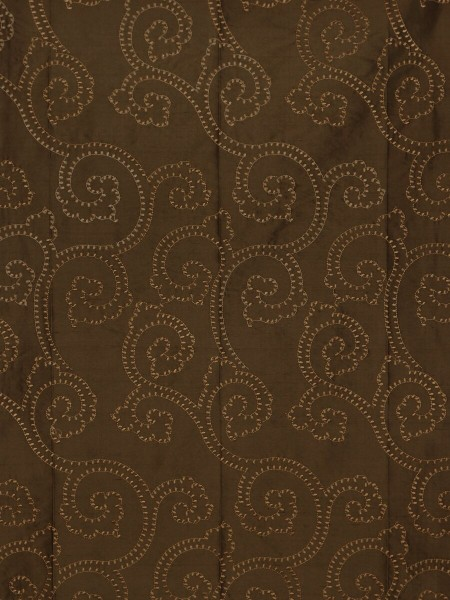 Halo Embroidered Scroll Damask Dupioni Silk Fabric Sample (Color: Chocolate)