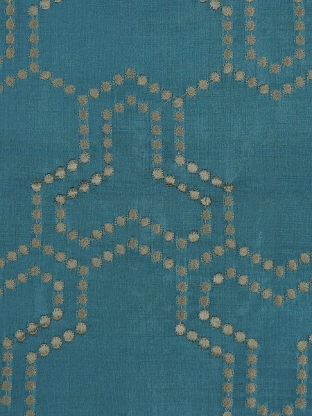 Halo Embroidered Simple Spots Dupioni Silk Custom Made Curtains (Color: Celestial blue)