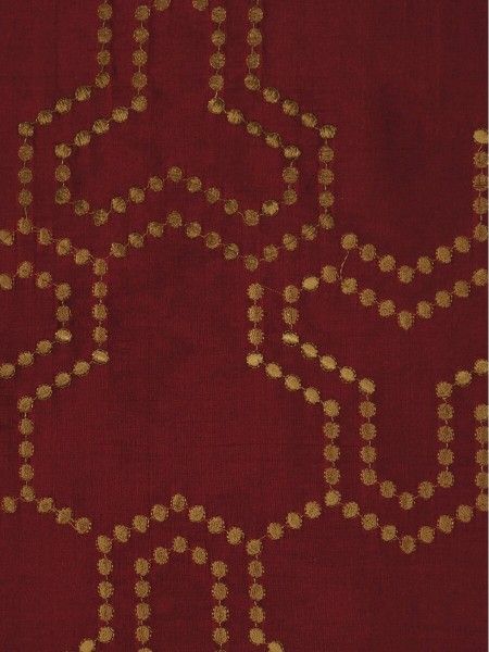 Halo Embroidered Simple Spots Dupioni Silk Custom Made Curtains (Color: Burgundy)