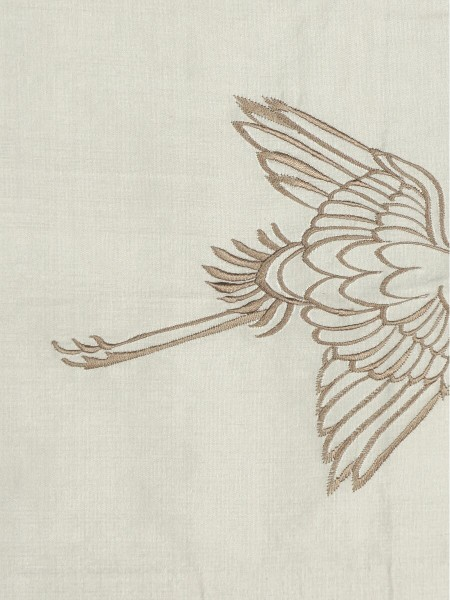 Halo Embroidered Cranes Rod Triple Pinch Pleat Dupioni Silk Curtains (Color: Eggshell)