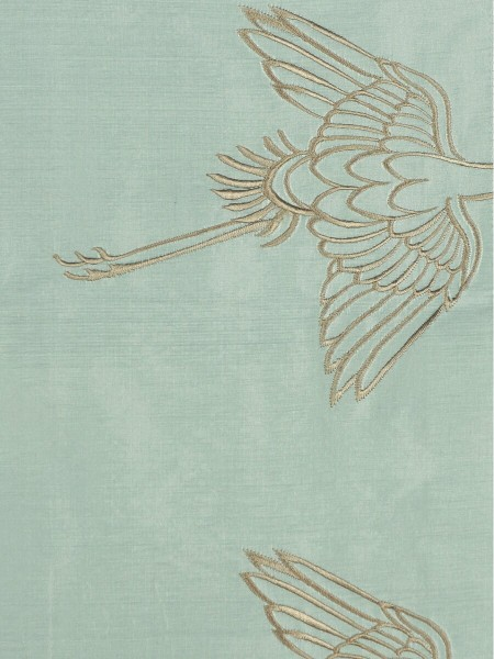Halo Embroidered Cranes Rod Pocket Dupioni Silk Curtains (Color: Magic mint)
