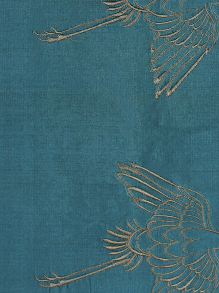 Halo Embroidered Cranes Rod Triple Pinch Pleat Dupioni Silk Curtains (Color: Celestial blue)