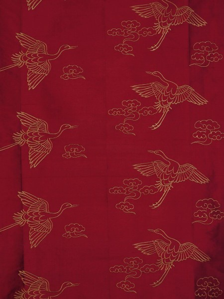 Halo Embroidered Cranes Rod Pocket Dupioni Silk Curtains (Color: Burgundy)