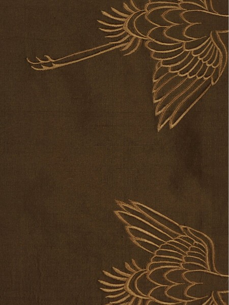 Halo Embroidered Cranes Rod Pocket Dupioni Silk Curtains (Color: Chocolate)