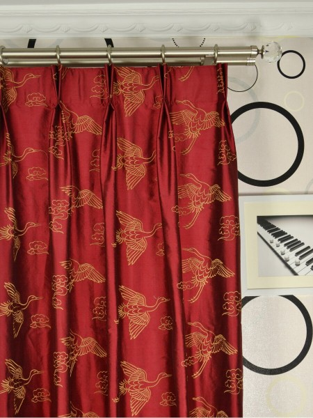 Halo Embroidered Cranes Dupioni Silk Custom Made Curtains (Heading: Double Pinch Pleat)