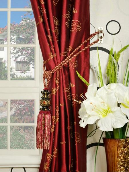 Halo Embroidered Cranes Double Pinch Pleat Dupioni Silk Curtains Tassel Tiebacks