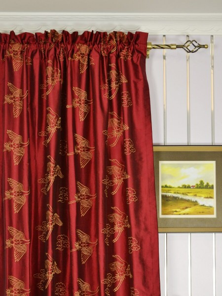 Halo Embroidered Cranes Dupioni Silk Custom Made Curtains (Heading: Rod Pocket)