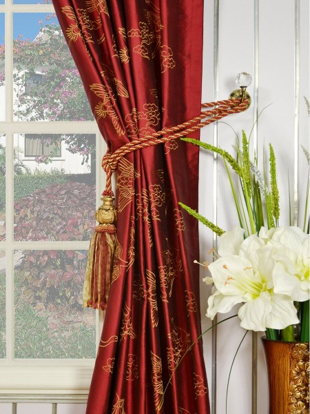 Halo Embroidered Cranes Rod Pocket Dupioni Silk Curtains Tassel Tiebacks