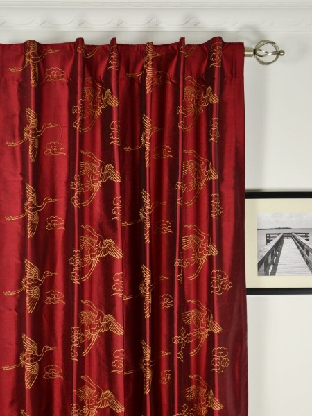 Halo Embroidered Cranes Dupioni Silk Custom Made Curtains (Heading: Back Tab)