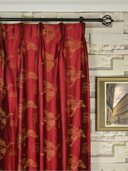 Halo Embroidered Cranes Rod Triple Pinch Pleat Dupioni Silk Curtains Heading Style