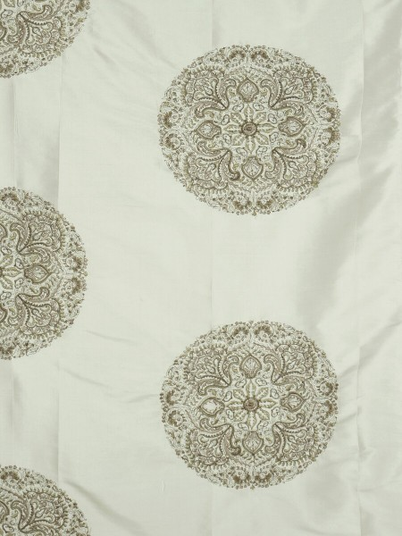 Halo Embroidered Round Damask Dupioni Silk Custom Made Curtains (Color: Eggshell)