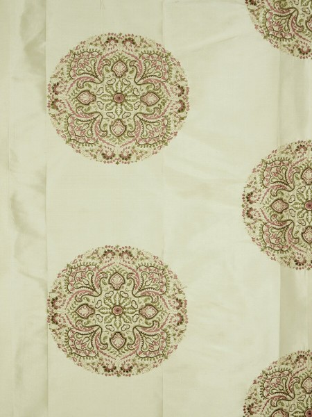Halo Embroidered Round Damask Dupioni Silk Custom Made Curtains (Color: Linen)