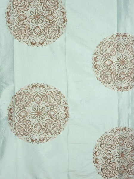 Halo Embroidered Round Damask Dupioni Silk Custom Made Curtains (Color: Magic mint)
