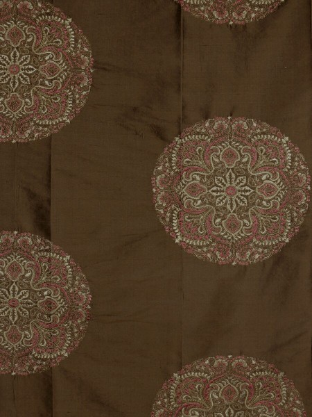 Halo Embroidered Round Damask Dupioni Silk Custom Made Curtains (Color: Chocolate)