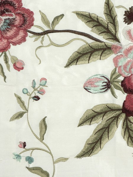 Halo Embroidered Camellias Dupioni Silk Custom Made Curtains (Color: Ivory)