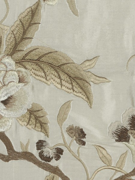 Halo Embroidered Camellias Dupioni Silk Custom Made Curtains (Color: Eggshell)