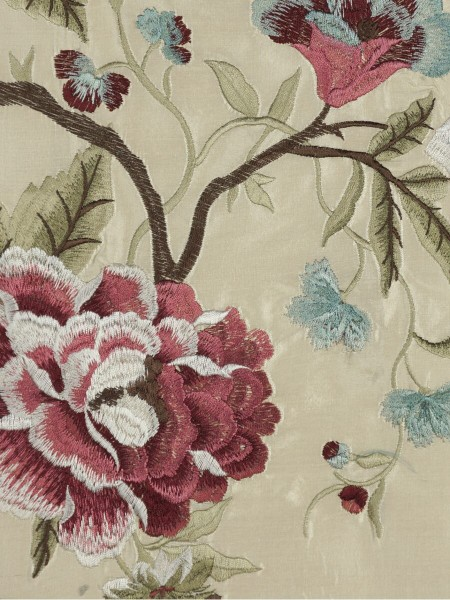 Halo Embroidered Camellias Dupioni Silk Custom Made Curtains (Color: Linen)