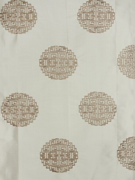 Halo Embroidered Chinese-inspired Back Tab Dupioni Silk Curtains (Color: Eggshell)
