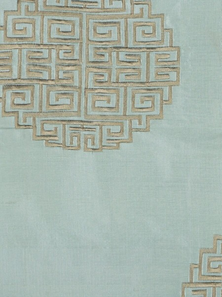 Halo Embroidered Chinese-inspired Grommet Dupioni Silk Curtains (Color: Magic mint)