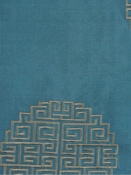 Halo Embroidered Chinese-inspired Back Tab Dupioni Silk Curtains (Color: Celestial blue)
