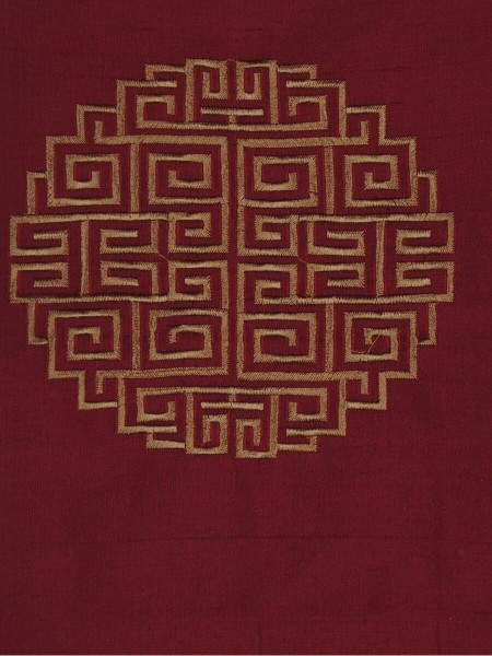 Halo Embroidered Chinese-inspired Back Tab Dupioni Silk Curtains (Color: Burgundy)