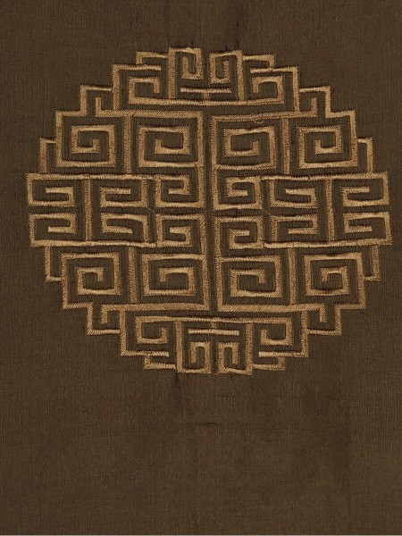 Halo Embroidered Chinese-inspired Back Tab Dupioni Silk Curtains (Color: Chocolate)