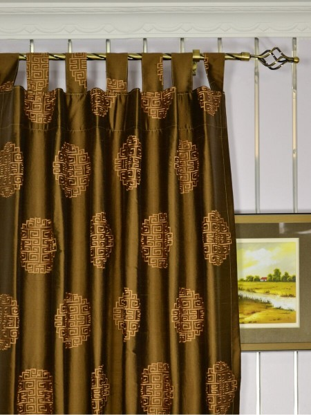 Halo Embroidered Chinese-inspired Tab Top Dupioni Silk Curtains Heading Style