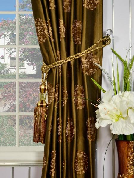 Halo Embroidered Chinese-inspired Tab Top Dupioni Silk Curtains Tassel Tiebacks