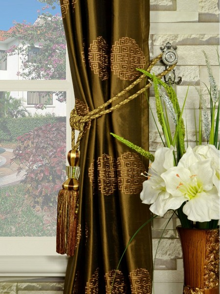 Halo Embroidered Chinese-inspired Grommet Dupioni Silk Curtains Tassel Tiebacks