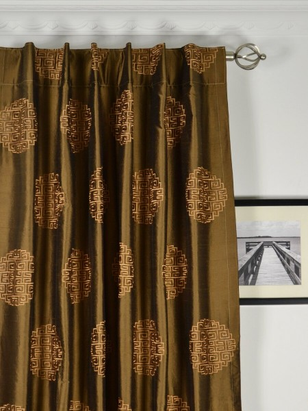 Halo Embroidered Chinese-inspired Back Tab Dupioni Silk Curtains Heading Style
