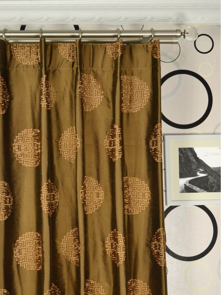 Halo Embroidered Chinese-inspired Single Pinch Pleat Dupioni Silk Curtains Heading Style