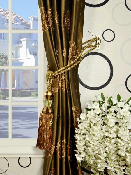 Halo Embroidered Chinese-inspired Single Pinch Pleat Dupioni Silk Curtains Tassel Tiebacks