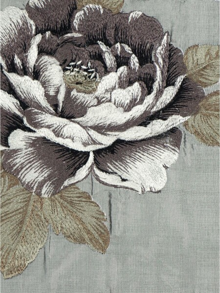 Rainbow Embroidered Plush Peonies Dupioni Silk Fabric Sample (Color: Cadet grey)