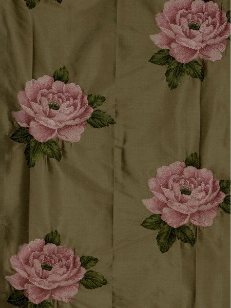 Rainbow Embroidered Plush Peonies Dupioni Silk Fabric Sample (Color: Brown)