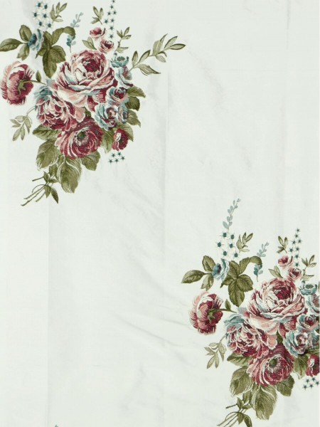 Rainbow Embroidered Camellia Dupioni Custom Made Curtains (Color: Ivory)