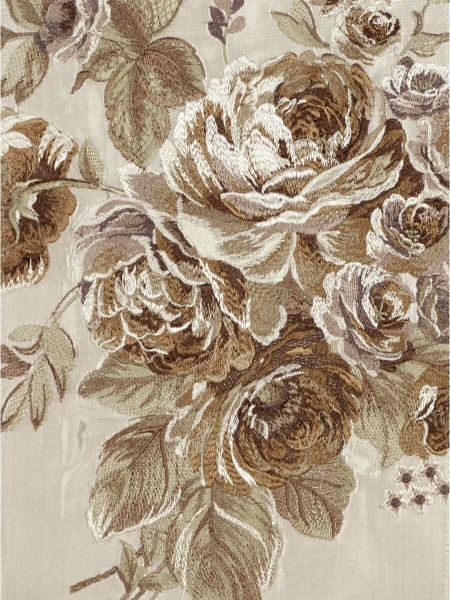 Rainbow Embroidered Camellia Versatile Pleat Dupioni Curtains (Color: Beige)