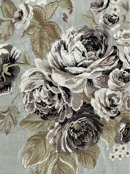 Rainbow Embroidered Camellia Dupioni Custom Made Curtains (Color: Cadet grey)