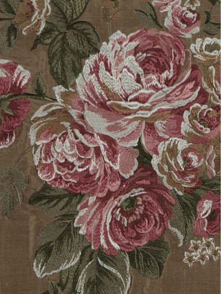 Rainbow Embroidered Camellia Dupioni Custom Made Curtains (Color: Brown)