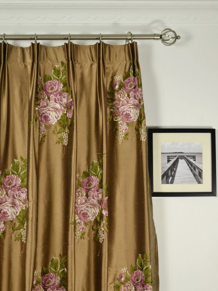 Rainbow Embroidered Camellia Dupioni Custom Made Curtains (Heading: Versatile Pleat)