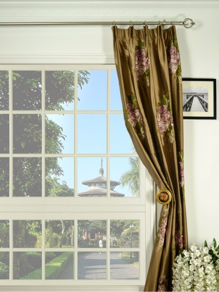 Rainbow Embroidered Camellia Versatile Pleat Dupioni Curtains