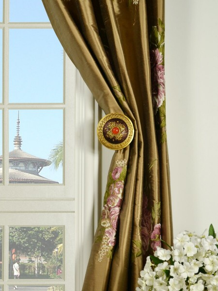 Rainbow Embroidered Camellia Versatile Pleat Dupioni Curtains Holdbacks