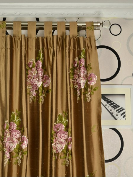 Rainbow Embroidered Camellia Dupioni Custom Made Curtains (Heading: Tab Top)