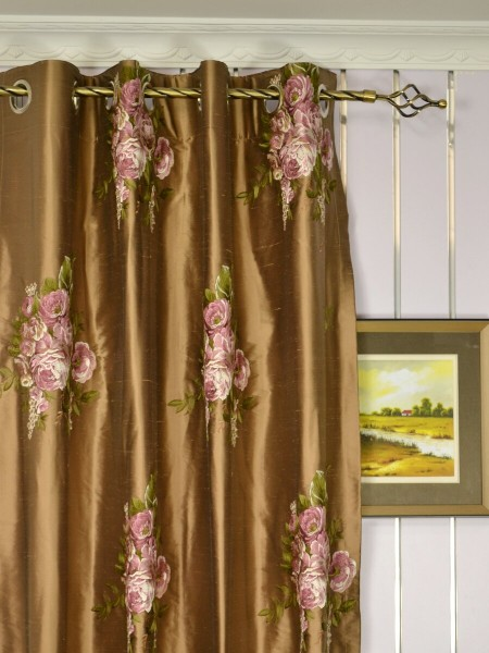 Rainbow Embroidered Camellia Dupioni Custom Made Curtains (Heading: Grommet)