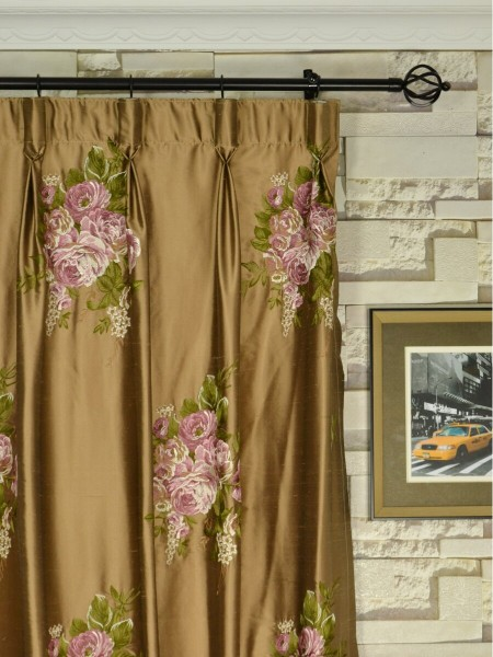Rainbow Embroidered Camellia Dupioni Custom Made Curtains (Heading: Goblet Pleat)