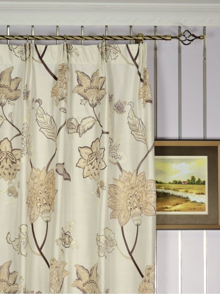 Rainbow Embroidered and Velvet Appliqué Versatile Pleat Dupioni Curtains Heading Style